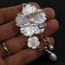 g1755 Mother of Pearl MOP white Shell pearl flower pendant 70mm