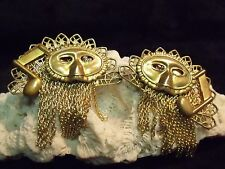 RARE VINTAGE D B  SIGNED OPERA MASK / MUSIC NOTE GOLDTONE CHAIN EARRINGS