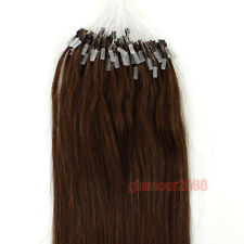 """New 100s 16-26"""" Easy Loop Micro Rings Beads Remy Human Hair Extensions Straight"""