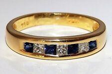 A FINE 18CT YELLOW GOLD SQUARE CUT SAPPHIRE & DIAMOND ETERNITY RING WT 3.3g