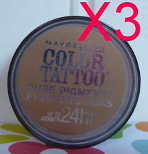 LOT OF 3 MAYBELLINE 24 HR COLOR TATTOO PURE PIGMENTS - BUFF & TUFF EYE SHADOW