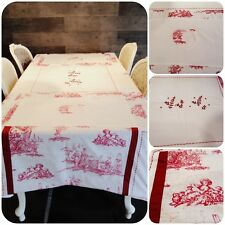 Nappe 150x240 cm rouge blanc toile de Jouy broderie Campagne Shabby chic
