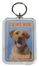 """Porte clé chien """"J'aime mon Labrador Jaune""""  idée cadeau pas cher NEUF"""