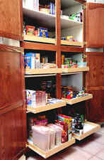 Custom made wood pull out sliding shelf for kitchen and pantry bathroom cabinets