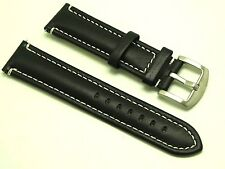 22mm Black Leather Contrast Stitch Replacement Watch Strap - Tommy Hilfiger 22
