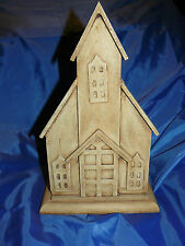 Handmade Carved Wooden Chapel Front Planter Box Church Steeple Storage