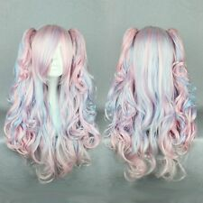70cm Long Pink/Blue Green Curly Clip-In Ponytails Lolita Style Cosplay Wigs