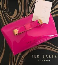 Genuine TED BAKER Bright Pink & Rose Gold Bow Wash Bag - NEW with Tags