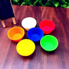 10pcs Silicone Round Shape Cupcake Moulds Muffin Tarts Pudding Jelly Mold