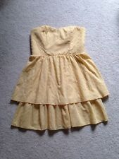 Maurices Yellow Eyelet  Strapless Tiered Dress Size Extra Large