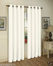 "2 Piece Solid Faux Silk Grommet Window Curtain Panel 55"" X 84"" White"