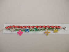 Coloured Charm Bracelet Butterfly Theme New