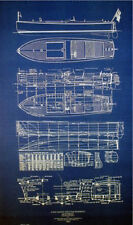 Classic 1923 Speed Boat V-Bottom Blueprint Plan 19x36 (163)