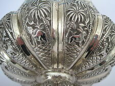LARGE ANTIQUE INDIAN BURMESE SOLID SILVER BOWL 367 grams, c1890