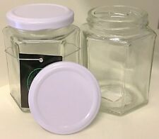 (WHOLESALE X 6) - Hexagon Shaped Clear White Screw Top Lid Lolly JAR (170 ML)