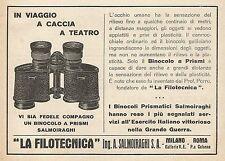 """Z0831 Binocolo a prismi Ing. Salmoiraghi """"La Filotecnica"""" - Pubblicità del 1929"""
