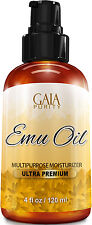 Emu Oil 100% Pure - Large 4oz - Best Natural Oil For Face, Skin, Hair FREE SHIP