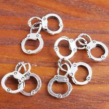 30x Lots Antique Silver Zinc Alloy Handcuffs Shape Charms Pendant Fit Necklace J