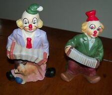 Vintage Collectible Pair Set of 2 Clown Figurines Playing Squeezebox Accordion