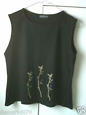 1990s C&A Casual Black Sleeveless Crop Top, Floral Design, Size 16  (Euro 42)