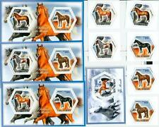 HORSES horse SET 6 hexagon stamps + 4 s/s Tchad 2014 MNH #tchad2014-127s