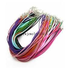 20pcs Leather Lace Necklace Cords DIY Jewelry Ropes Clasps Extended Chain 18""