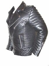 100% GENUINE BLACK LEATHER VINTAGE 80's SEXY QUILTED ROCK BIKER JACKET 10H