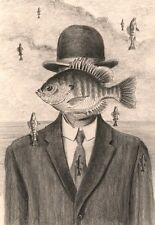 Man in Bowler Hat Pencil Drawing 8X10 best Magritte fish art print Barry Singer