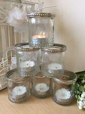 Set of 6 Vintage Glass Tea Light Candle Holders Silver Rim Wedding Decoration