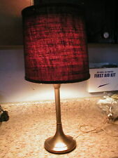 """Vtg Mid Century Metal Accent Table Lamp Diffuser Top Gunny Sack Shade 25 1/2"""""""