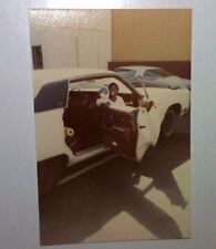 Vintage 70s Found PHOTO Younger Black Teenage Boy Holding Gift In Old School Car