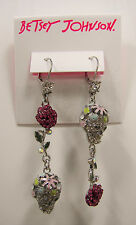 Betsey Johnson Crystal Skull Flowers Rose Linear Silver Tone Earrings MSRP $55