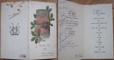 1937 French Menu: Sunset Over Lake w/Cabin, Windmill, Holly Branches, Foie Gras