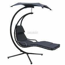 FoxHunter Garden Swing Hammock Helicopter Hanging Chair Seat Sun Lounger Black