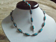 Spectaclar Sterling Silver & Turquoise Necklace & Bracelet Set