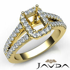 Halo Prong Set Emerald Diamond Semi Mount Engagement Ring 18k Yellow Gold 0.75Ct