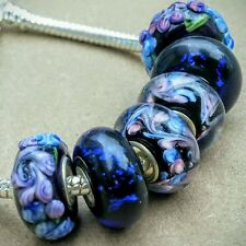 6P Blue Black Night Purple 3D Flowers Single Core European Murano Glass Beads