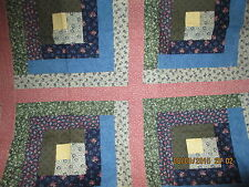 """Log Cabin Quilt, Wall Hanging, Table topper, Handmade, Pieced, 45"""" x 70"""""""