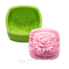 Square Rose Flower Soap Lotion Bar Silicone Mold Making for Homemade Supplies