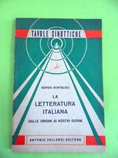 BONFIGLIOLI.LETTERATURA ITALIANA DALLE ORIGINI.TAVOLE SINOTTICHE.VALLARDI 1967
