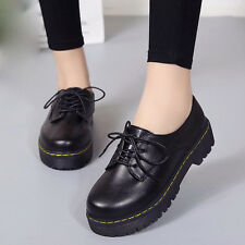 Fashion Women Lace up Platform Suede Oxfords Leather Loafer Shoes Ankle Boot Lot