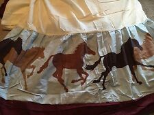 Horse Themed King Size Bed Skirt Blue