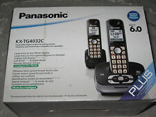 Panasonic 2 Handsets Cordless Phones DECT 6.0 Answering System KX-TG4032C