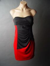 Sale Red Black Color Block Strapless Ruched Evening Cocktail Mini Dress XS/S