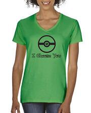 I CHOOSE YOU Pokemon ball Valentine's day love Women's V-Neck T-shirt heart