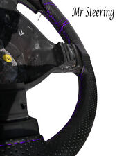 FOR BMW 3 SERIES E90 REAL PERFORATED LEATHER STEERING WHEEL COVER PURPLE STITCH