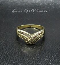 9ct Gold Half Eternity 0.6ct Champagne Diamond Wishbone Ring Size O 2.25g