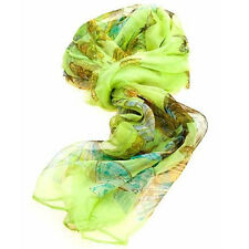 Ladies Multi Function 100% Silk Green Chiffon Scarf M