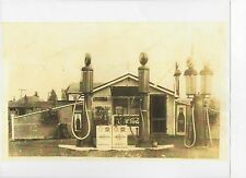 Old Photo Gas Station Visible Pumps Double Coreco Oil Coke Signs RP