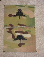 U.S. ARMY MILITARY FREE FALL PARACHUTIST BADGE,HALO,CLOTH ON MULTICAM, SET OF 2